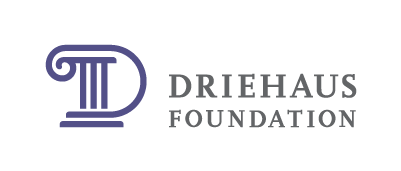 """Supported by The MacArthur Funds for Arts and Culture at The Richard H. Driehaus Foundation"" Logo"